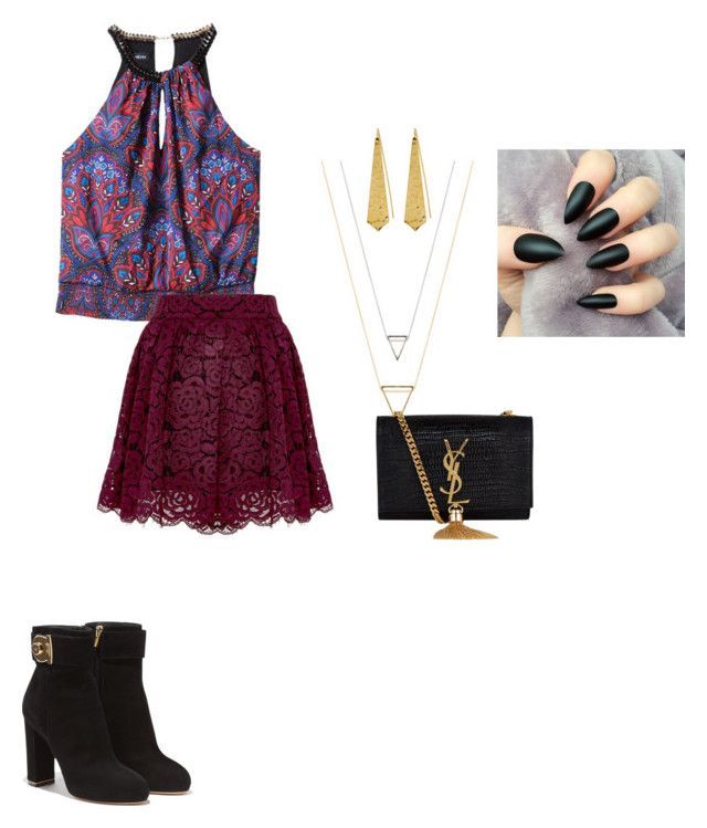 """Untitled #66"" by shaziwazi on Polyvore featuring Bebe, Alice + Olivia, Salvatore Ferragamo, Yves Saint Laurent and Panacea"