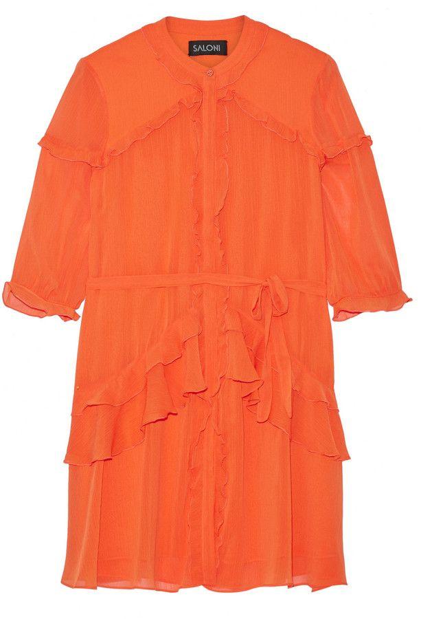 Saloni Tilly Ruffled Georgette Mini Dress - $395.00