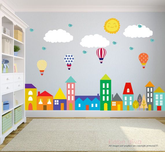 Superior City Scene Wall Decals Wall Decals Nursery Balloons Birds
