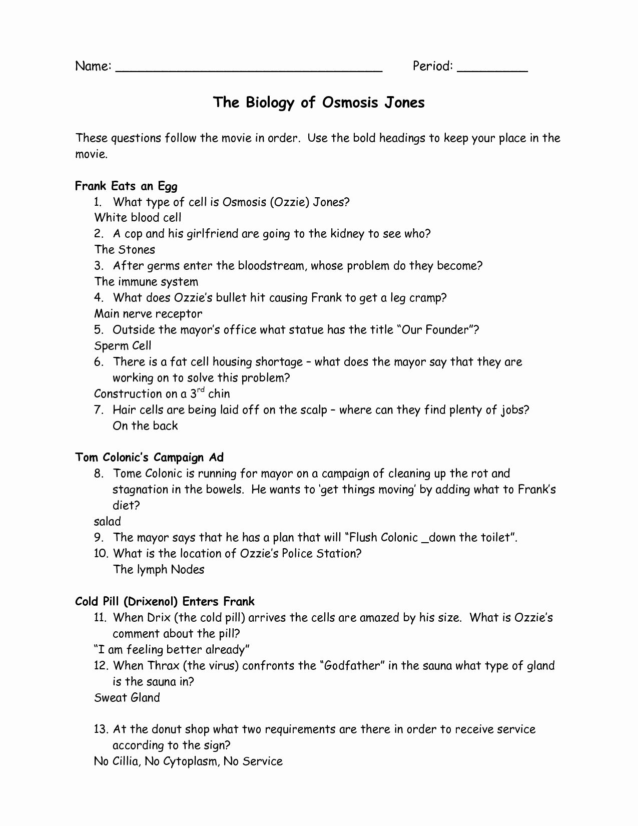 50 Osmosis Jones Video Worksheet Answers In