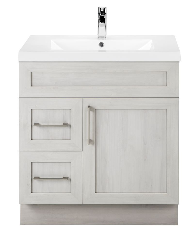 30 Inch Meadows Cove Shaker 1 Door 2 Drawer Vanity Left Hand