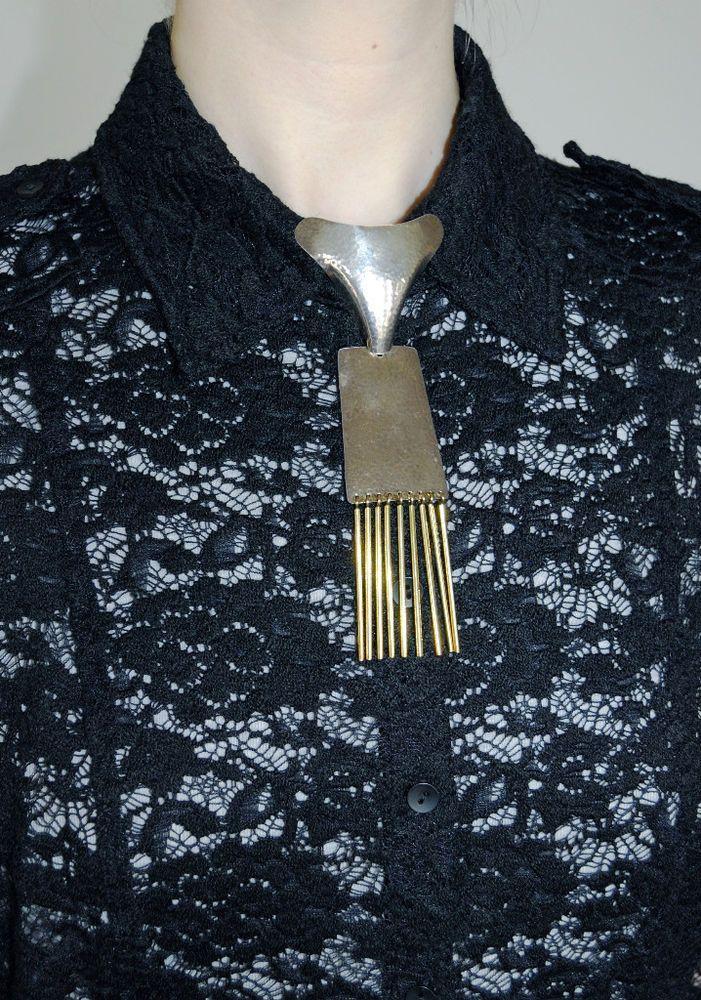 Modernist Sterling Silver Necktie Pendant. Siersbøl Denmark Vintage A. 1 or more #HermannSiersblDenmark