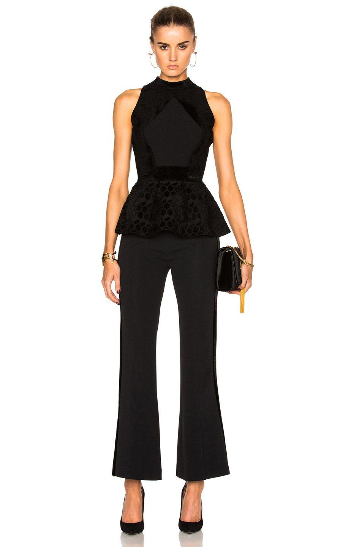 3c397d3f6ff542 Image 5 of Roland Mouret Cullen Hexagonal Velvet Knit Top in Black ...