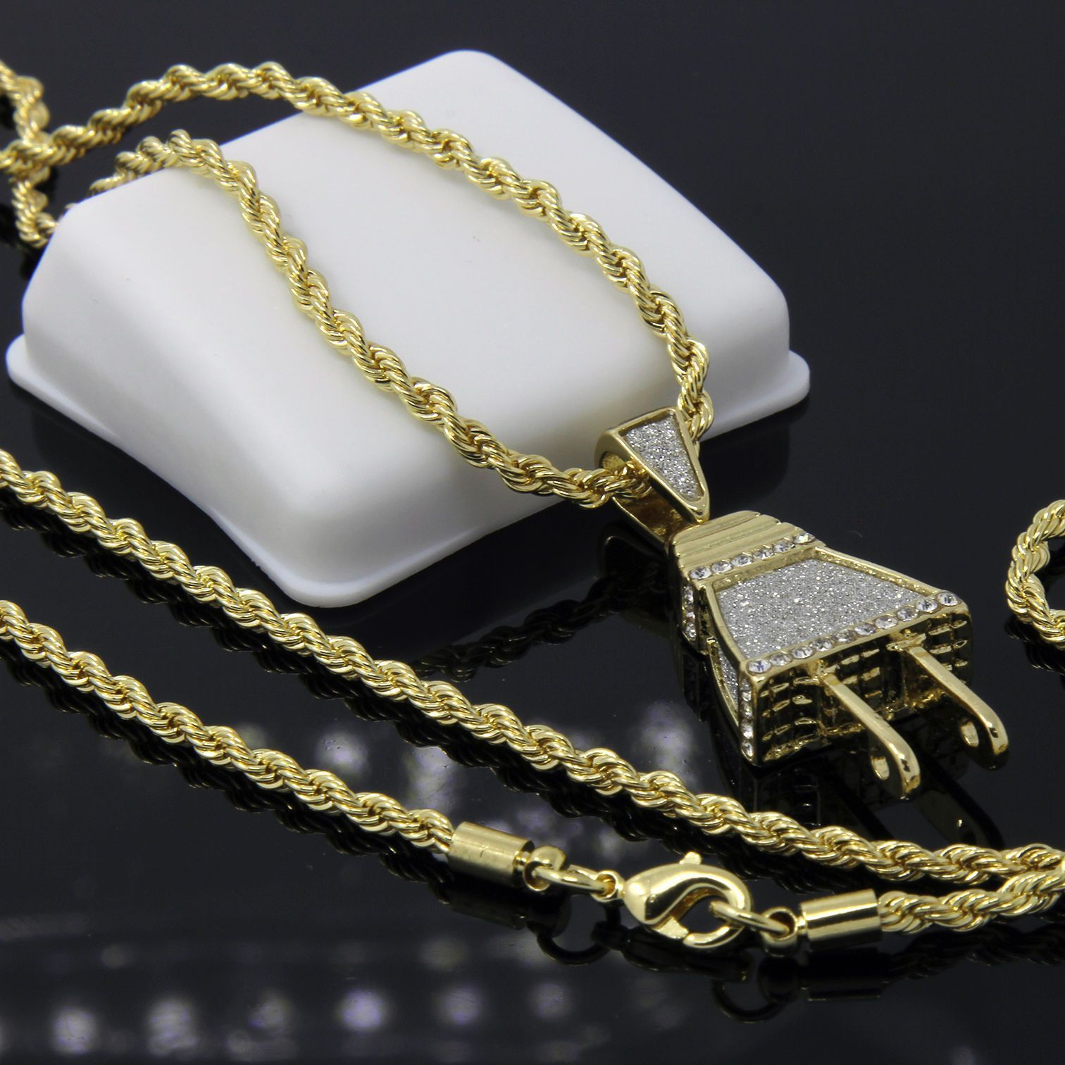 Iced out wall plug hiphop pendant fabulous jewelry pinterest