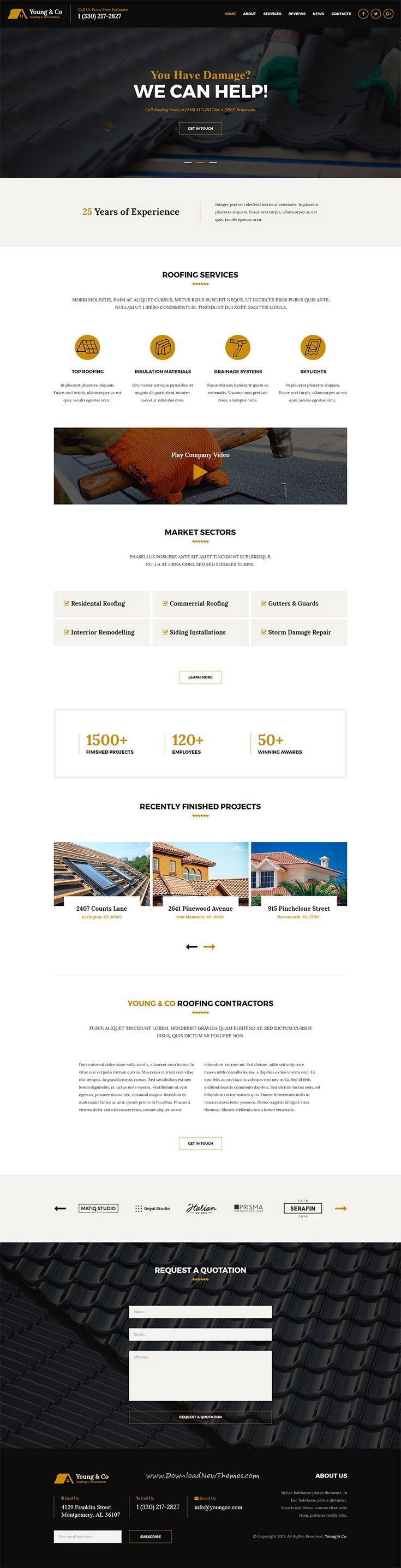Young Co Family Roofing Service Pinterest Simple Website