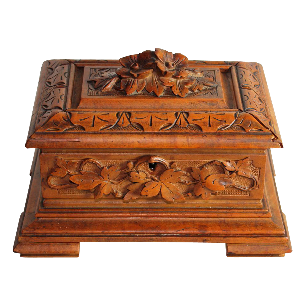 Lovely Black Forest Hand Carved Box With Flowers On Top From Juliet