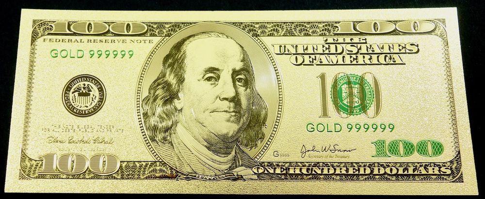 100 Us Dollar Gold Banknote 24 Karat 99 9 Gold Ebay Gold