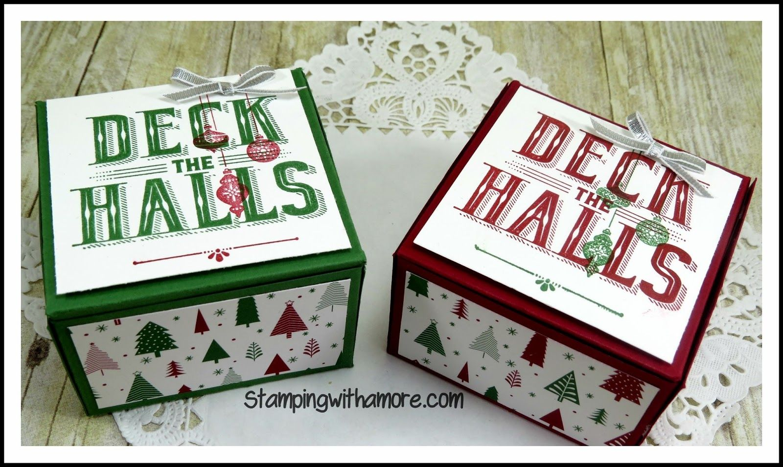 3-D Paper Crafting Projects, Bags and Boxes, Carols of Christmas Stamp Set, Stampin'Up, Christmas in Jul,y Deck the Halls Box, Christmas in July, Christmas, Christmas Treat Holders,