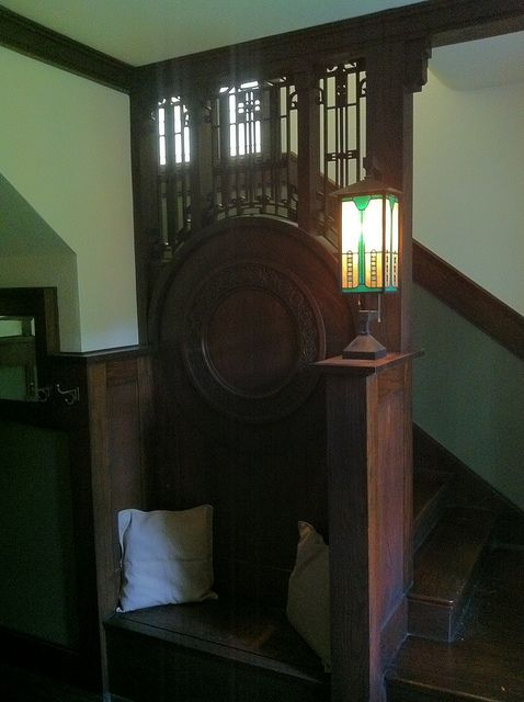 Stair Hall Iron Detail And Newel Post Lamp Victorian Interiors Newel Posts Craftsman Interior