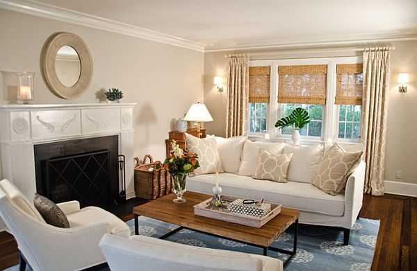 traditional living room windows treatments with woven wood shades - Living Room Window Coverings