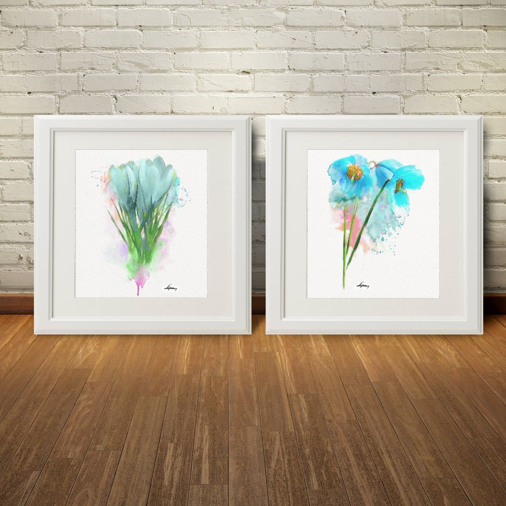 Blue flower wall art abstract print set gifthomedecorbluewall
