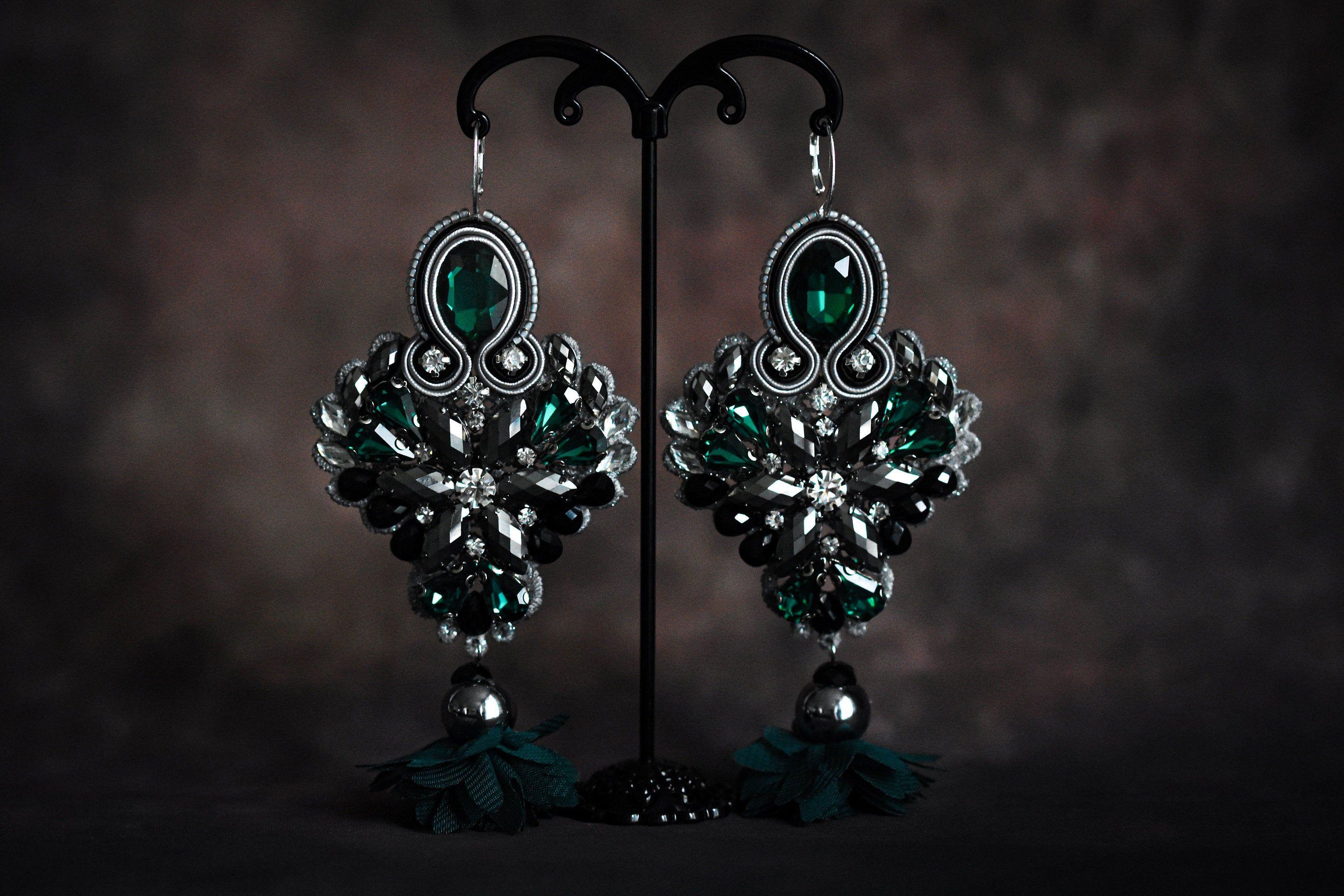Soutache earrings handsewn with Crystals