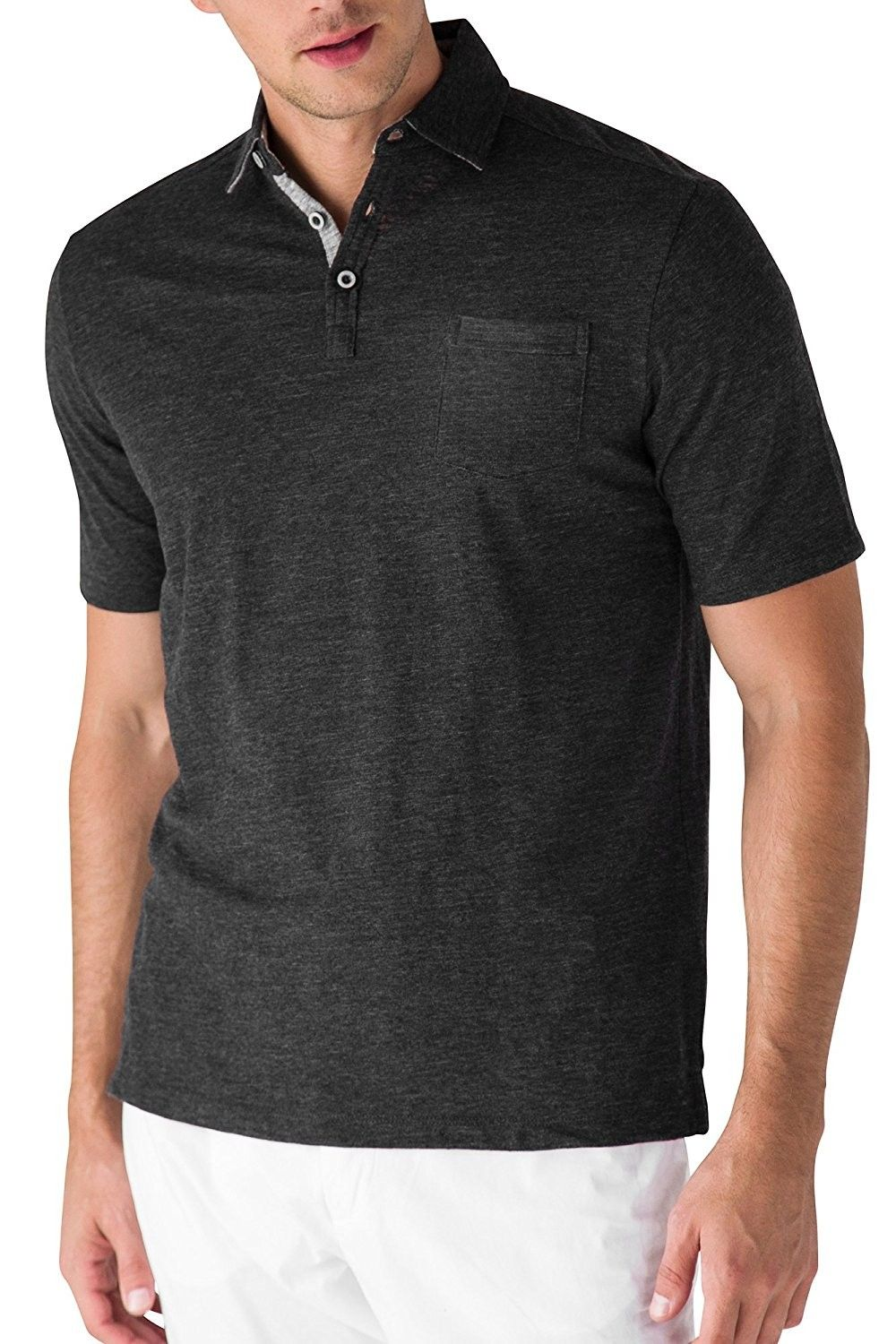 Men Regular Fit Cotton Polo Shirts Classic Short Sleeve Polo Black