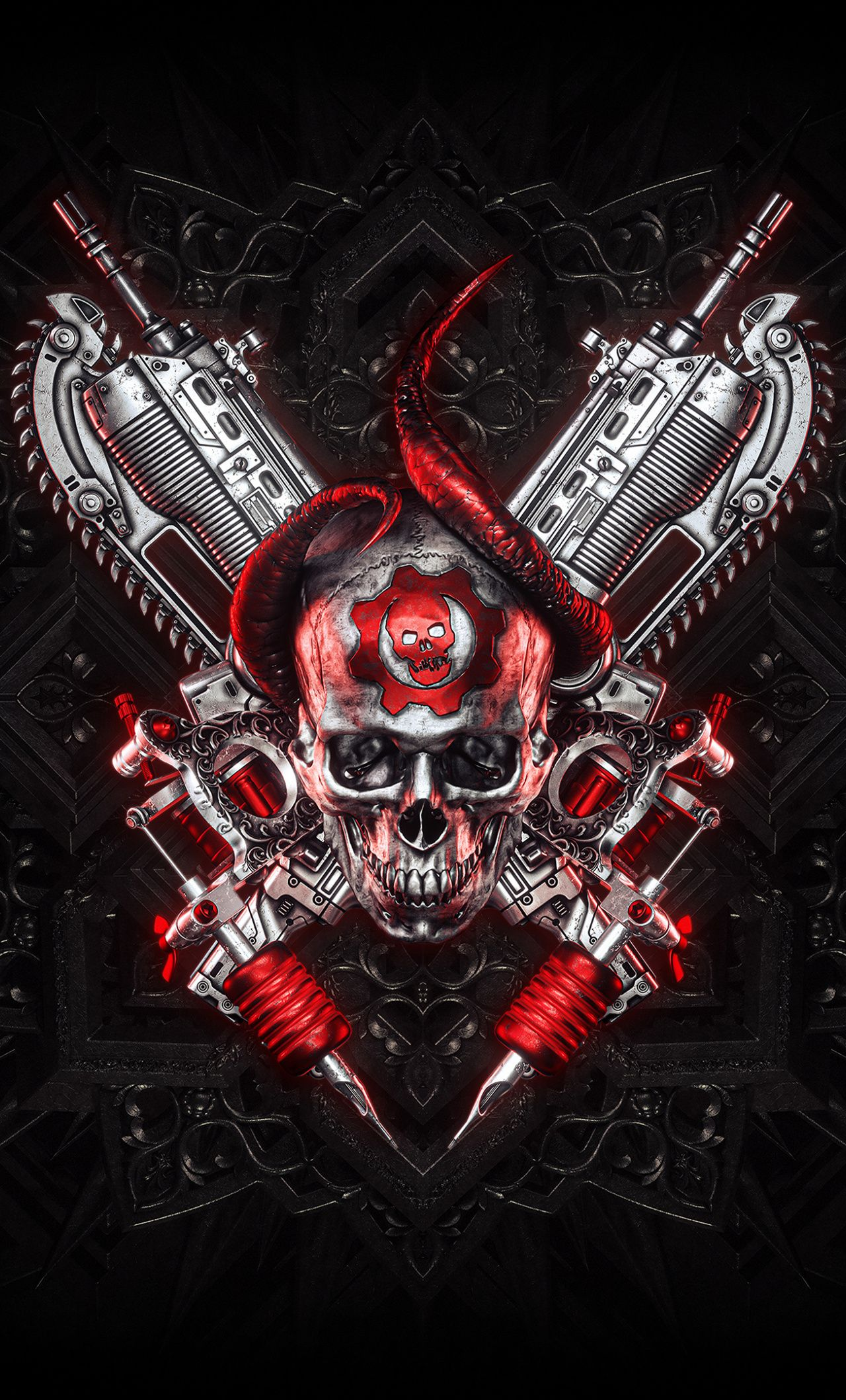 1280x2120 Gears Of War Pc Games Logo Skull And Guns Wallpaper Gears Of War Guns Wallpaper Gears Of War 3