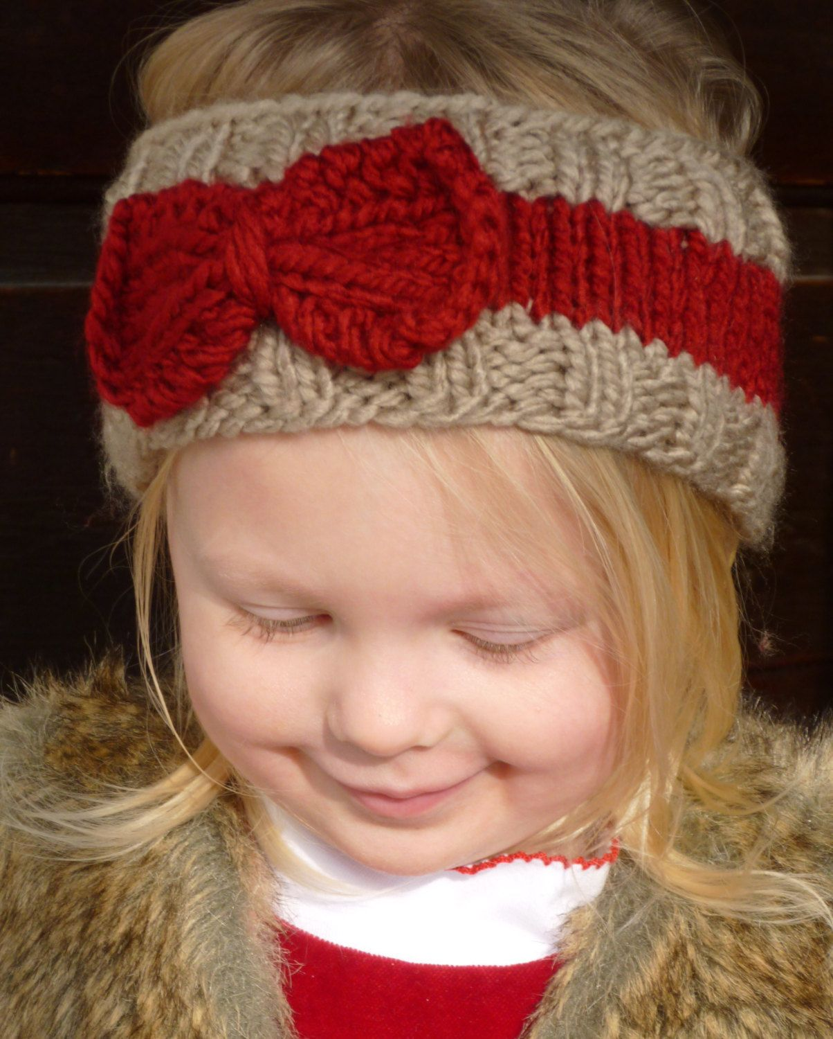 Knit Tan And Cranberry Toddler Ear Warmer Knit Toddler Headband Knit