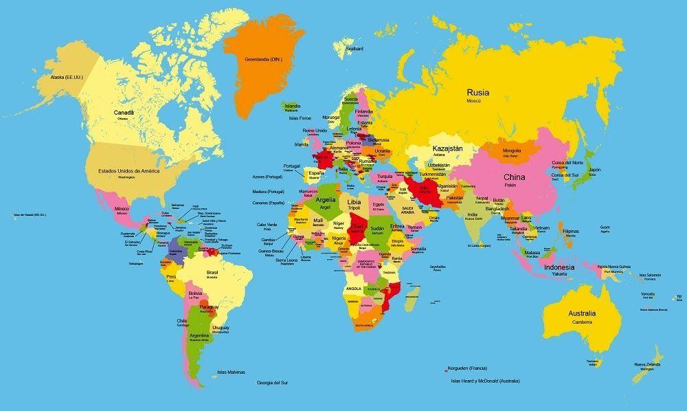 Mapa Politico Del Mundo Con Nombres.Pin De Pao Mottillo En Mapa Politico Del Mundo Mapamundi