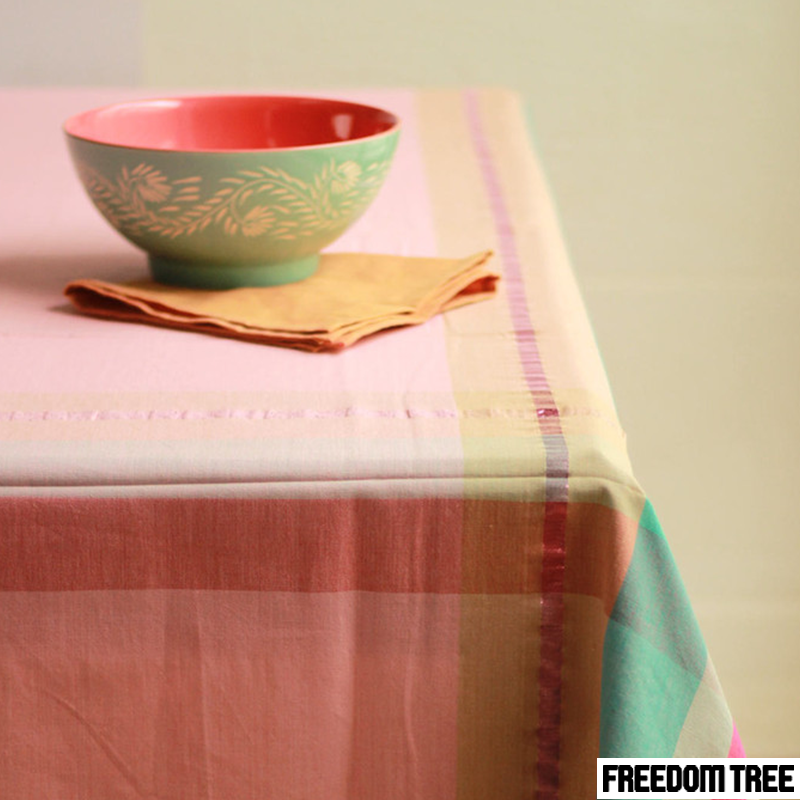 Bring in the past to beautifully blend with the present. Modern weave table cloth in a soft pink for a and trendy mint for a subtle look. http://bit.ly/1RJZL9o