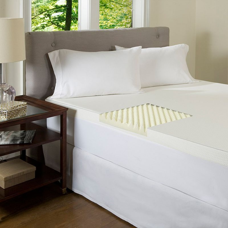 ComforPedic BeautyRest 4-inch Textured Memory Foam Topper, White