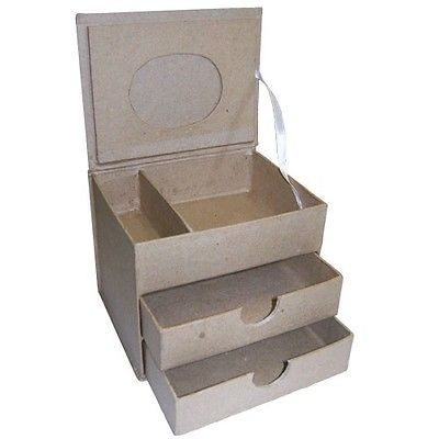Cardboard Craft Boxes To Decorate Cardboard Jewellery Box 2 Drawers Craft Paint Decorate Decoupage