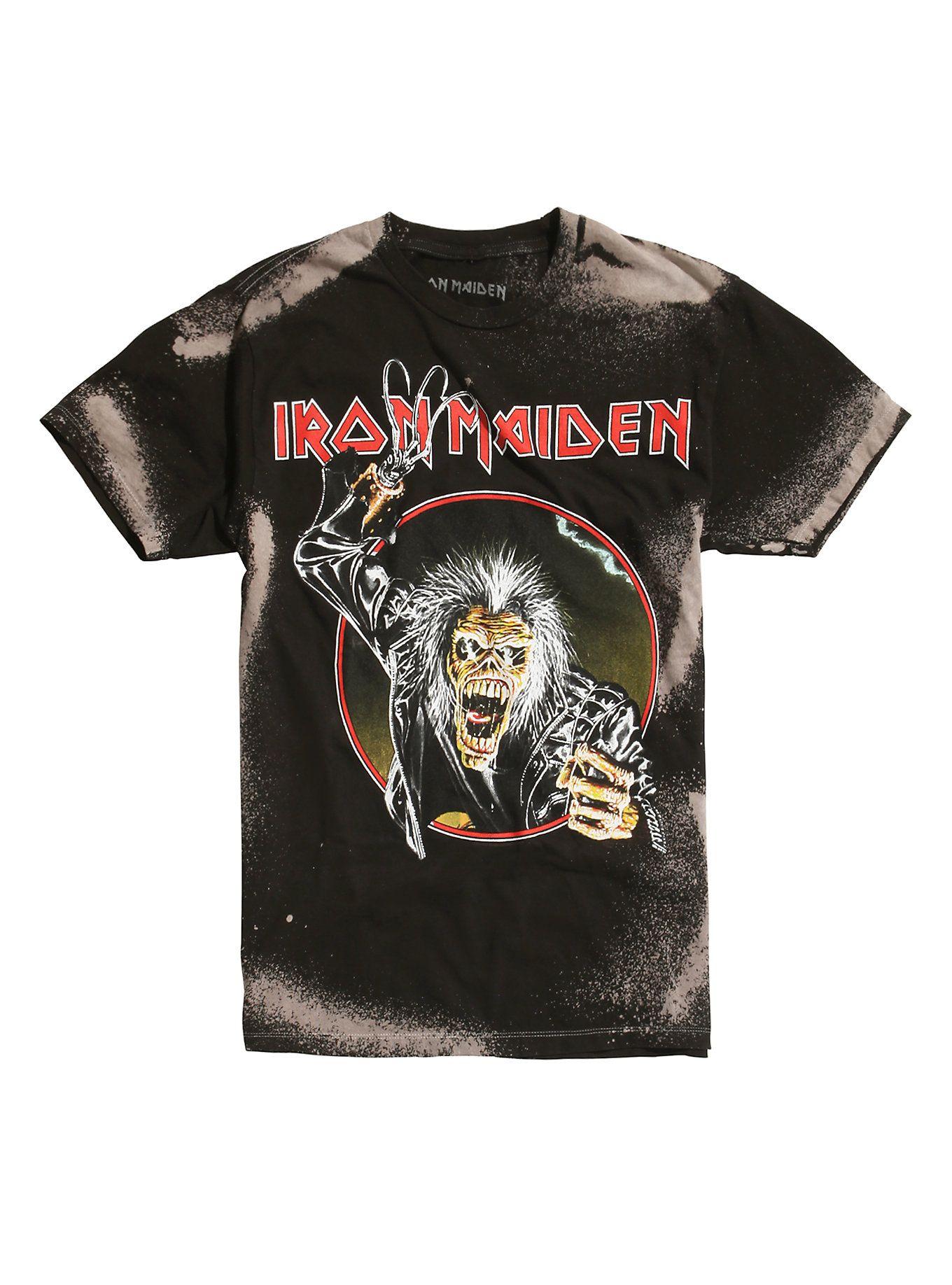 Iron Maiden Eddie Hook Bleached T Shirt Js Shirts Bleach T