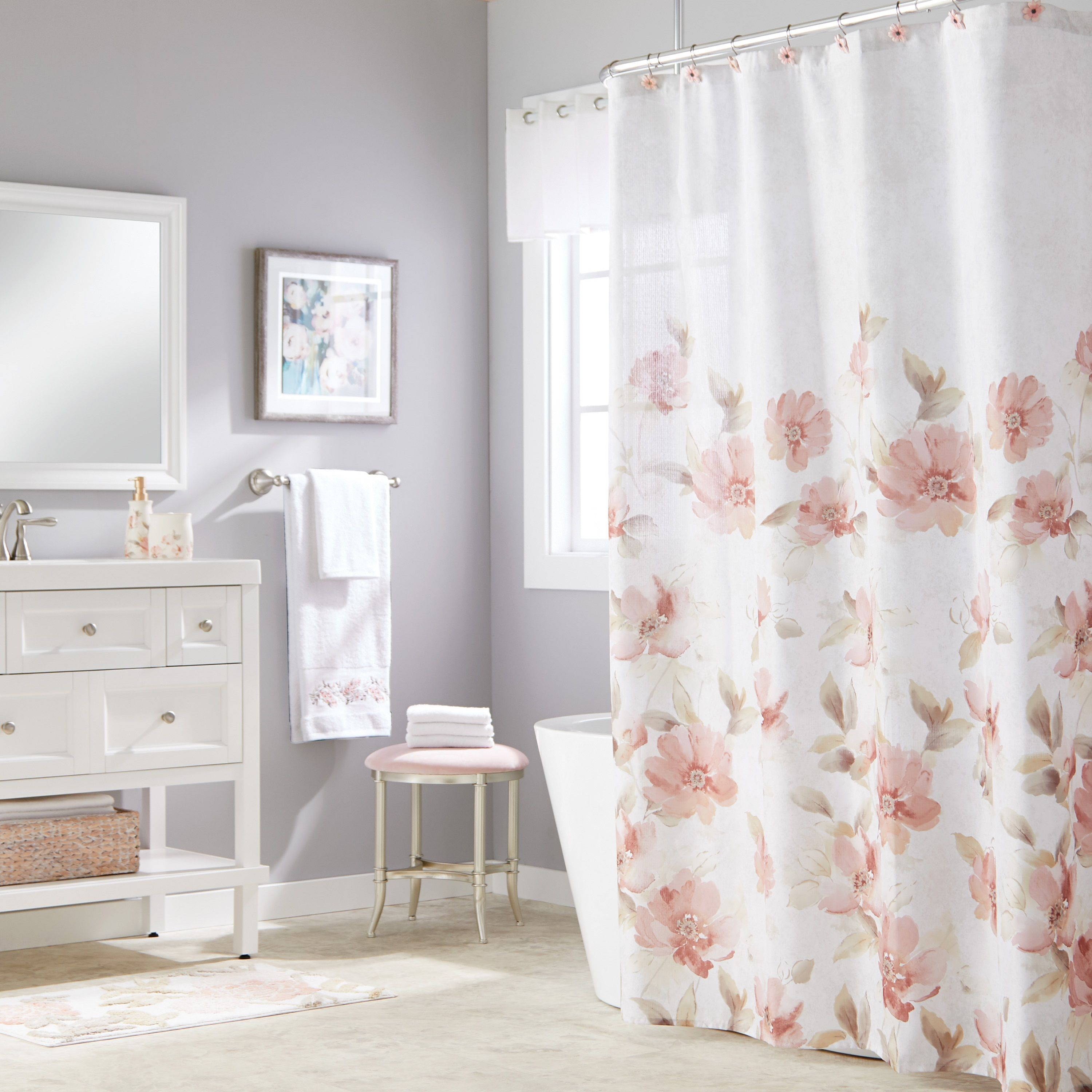 Home Pink Shower Curtains Floral Shower Curtains Fabric Shower Curtains