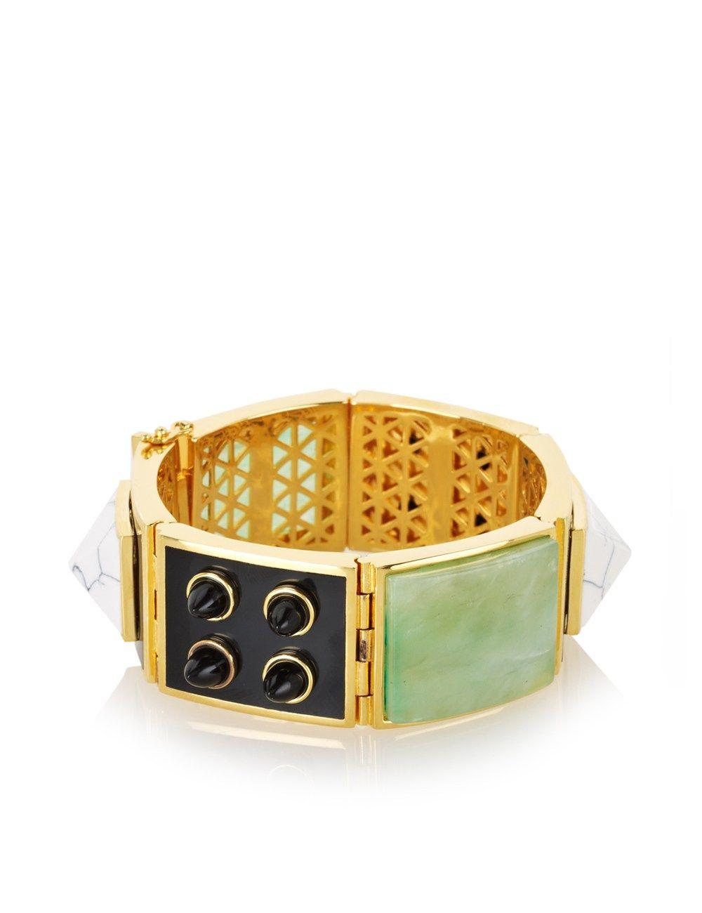 Gold Plated Bezel Bracelet | Eddie Borgo | Avenue32