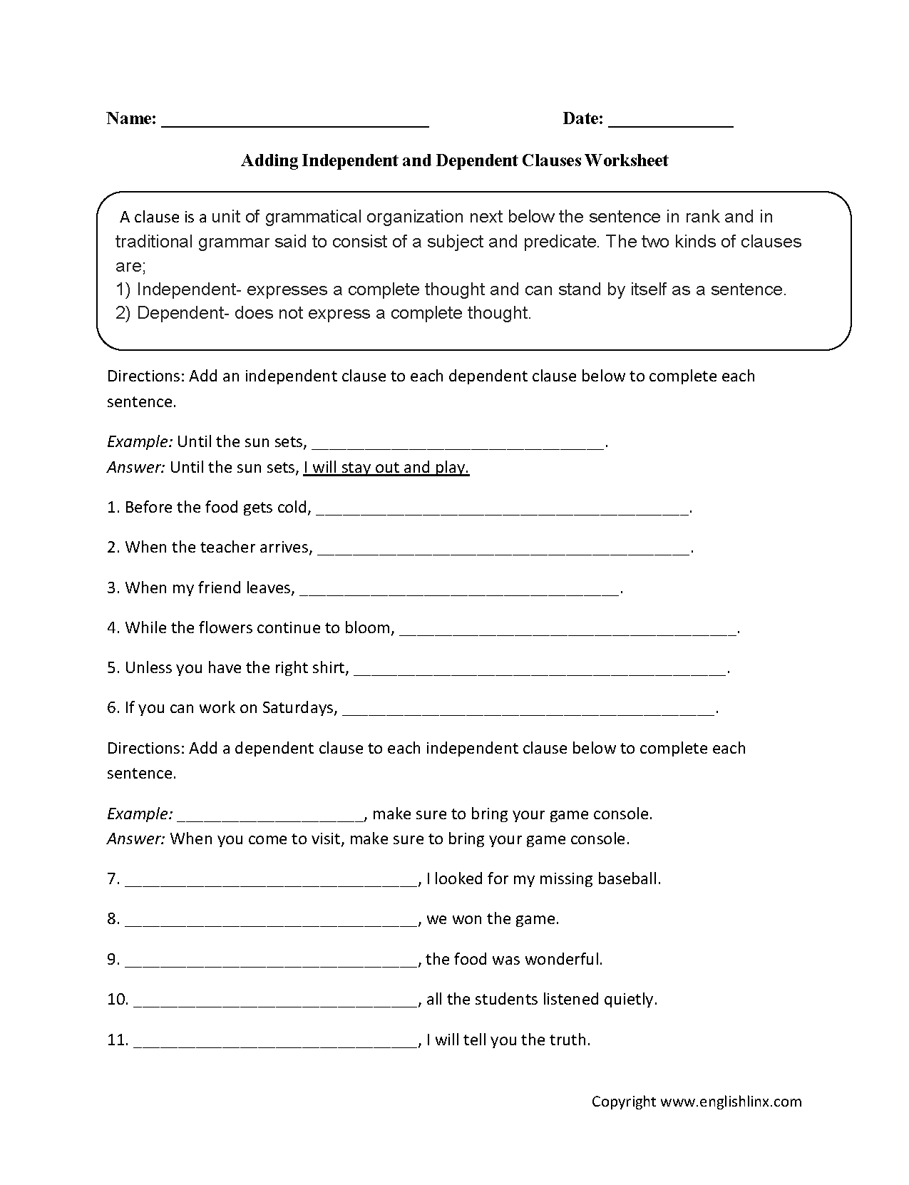 Adding Dependent and Independent Clauses Worksheet – Subordinate Clauses Worksheet