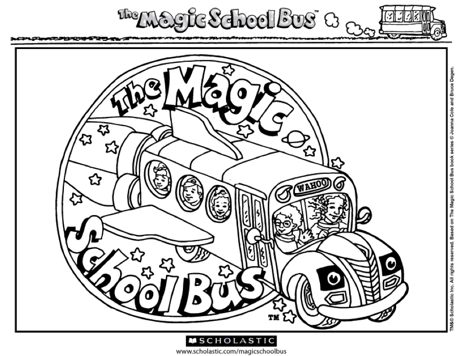 Where will your Magic School Bus take you? Color in this
