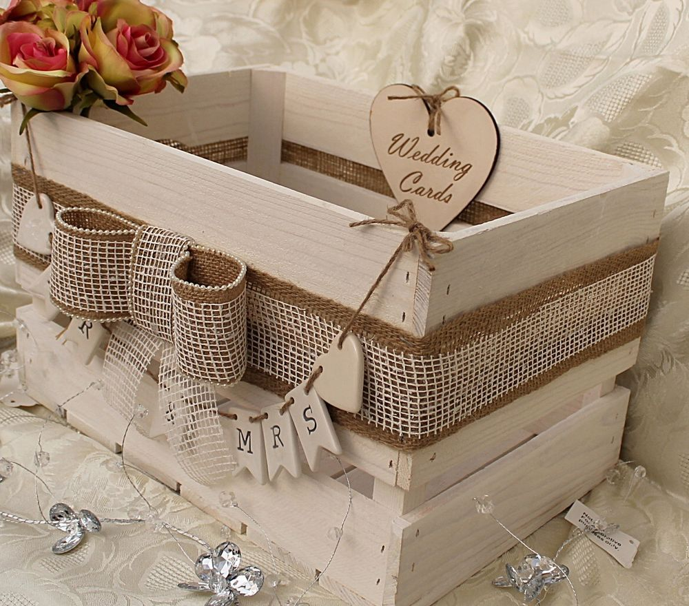 Vintage Style Ivory White Wooden Wedding Card Crate Mr