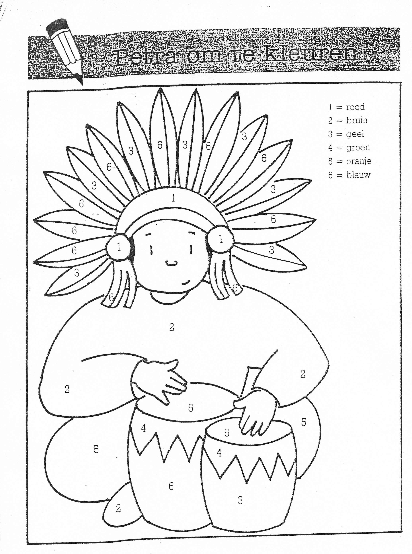 Kleurplaten Indianen Veren.Kleur Volgens De Cijfers Indios Cowboys Carnaval En