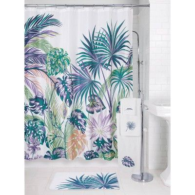 Oversize Palm Shower Curtain Allure Home Creation Shower
