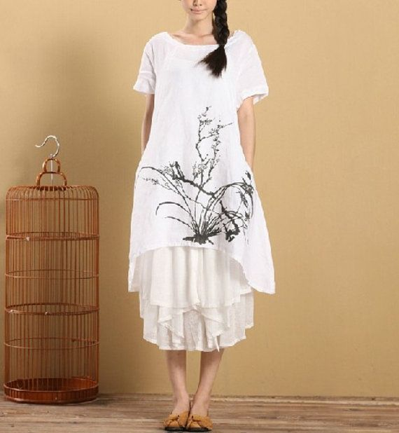 For the season: summer  Fabric: cotton linen  Style: loose Size: one size Length 90cm/35.43 Bust 110cm/43.31 Shoulder 44cm/17.32 Sleeve 19cm/7.48