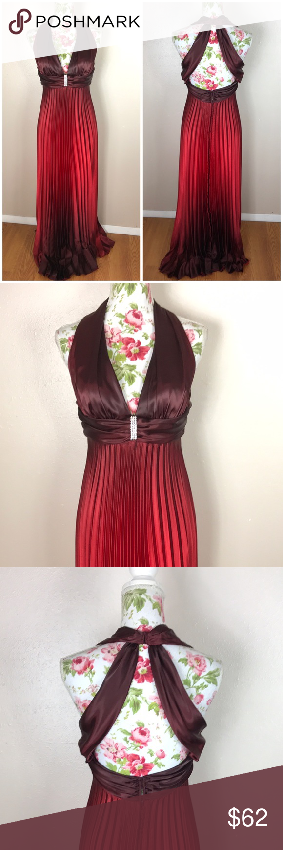 Red ombre formal maxi dress nwt