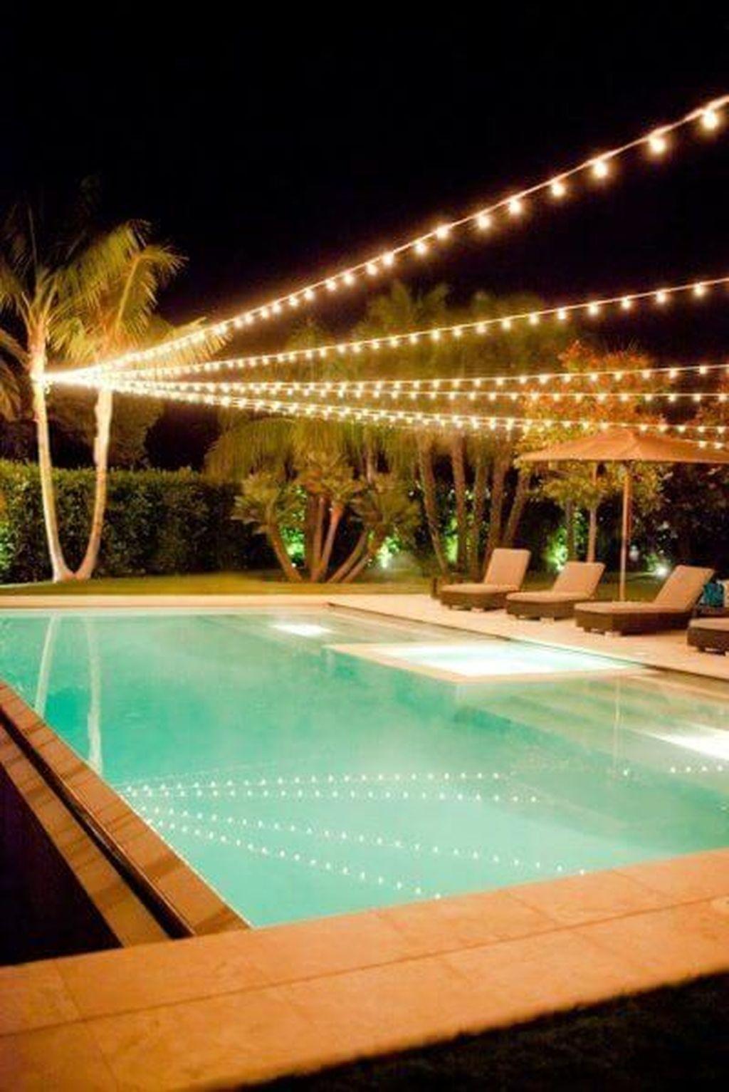 Popular Backyard Lighting Ideas Makes It Look Beautiful Pool Landscaping Backyard Pool Outdoor Pool