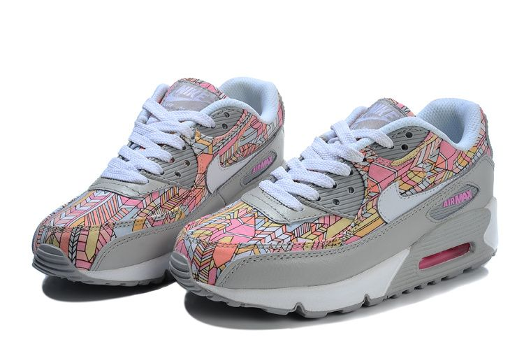 Nike Air Max 90 Women Flower Art Series Grey Pink  6433b4eeb4