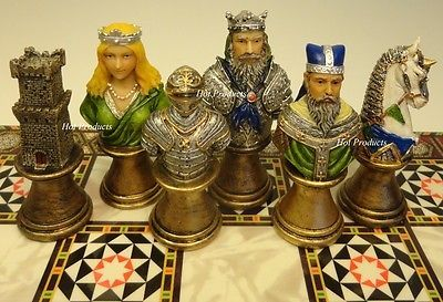 MEDIEVAL TIMES CRUSADES BUSTS Painted Knights CHESS Set W// CASTLE BOARD
