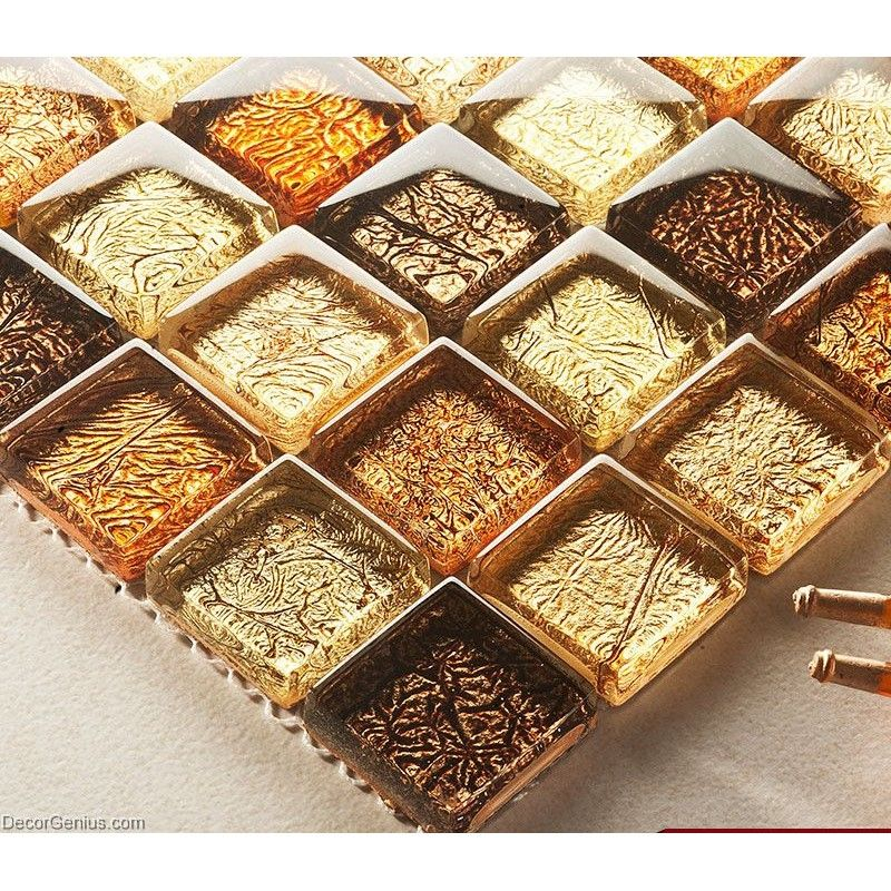 Decorgenius amber brown mosaic bathroom floor tile home for Floor and decor tile class