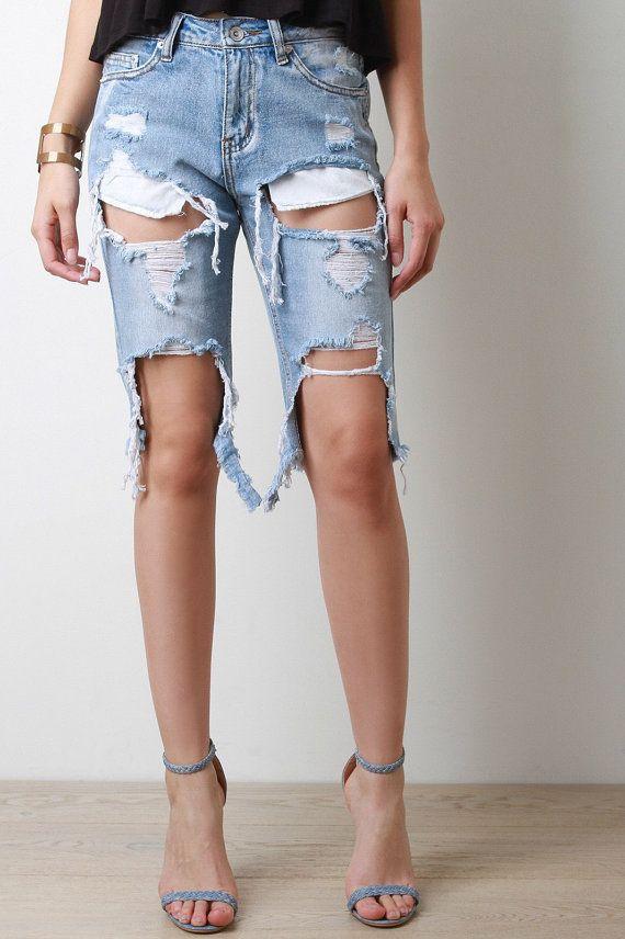 4a1d84e42c4 LEVIS ONLY!! Denim Distressed boyfriend bermudas mid to high waist  shorts jean sexy plus size S-XXL