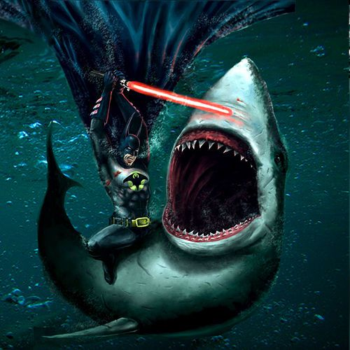 It's Batman fighting a great white shark with a lightsaber