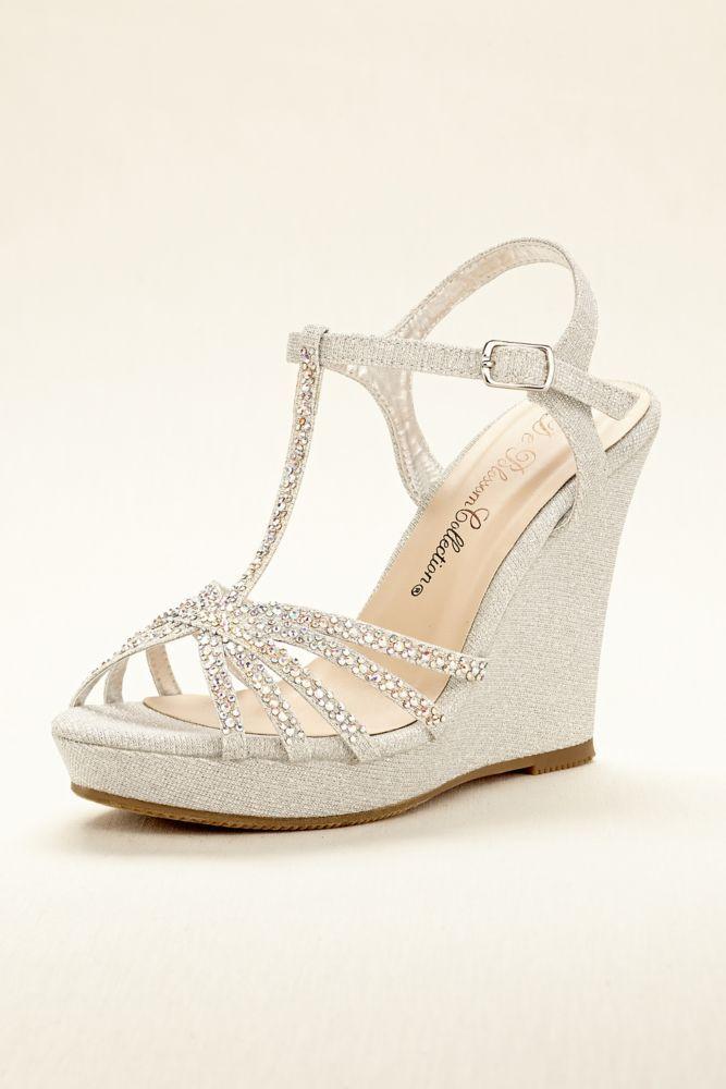 ecb895866c8fa Wedding   Bridesmaid High Heel T-Strap Wedge Sandal - Silver Metallic