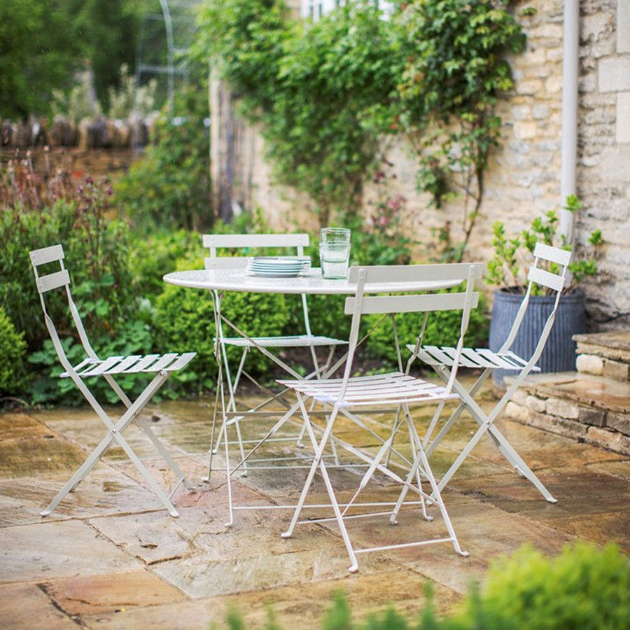 Large Chic Bistro Set Of Table And 4 Chairs Clay Bistro Set