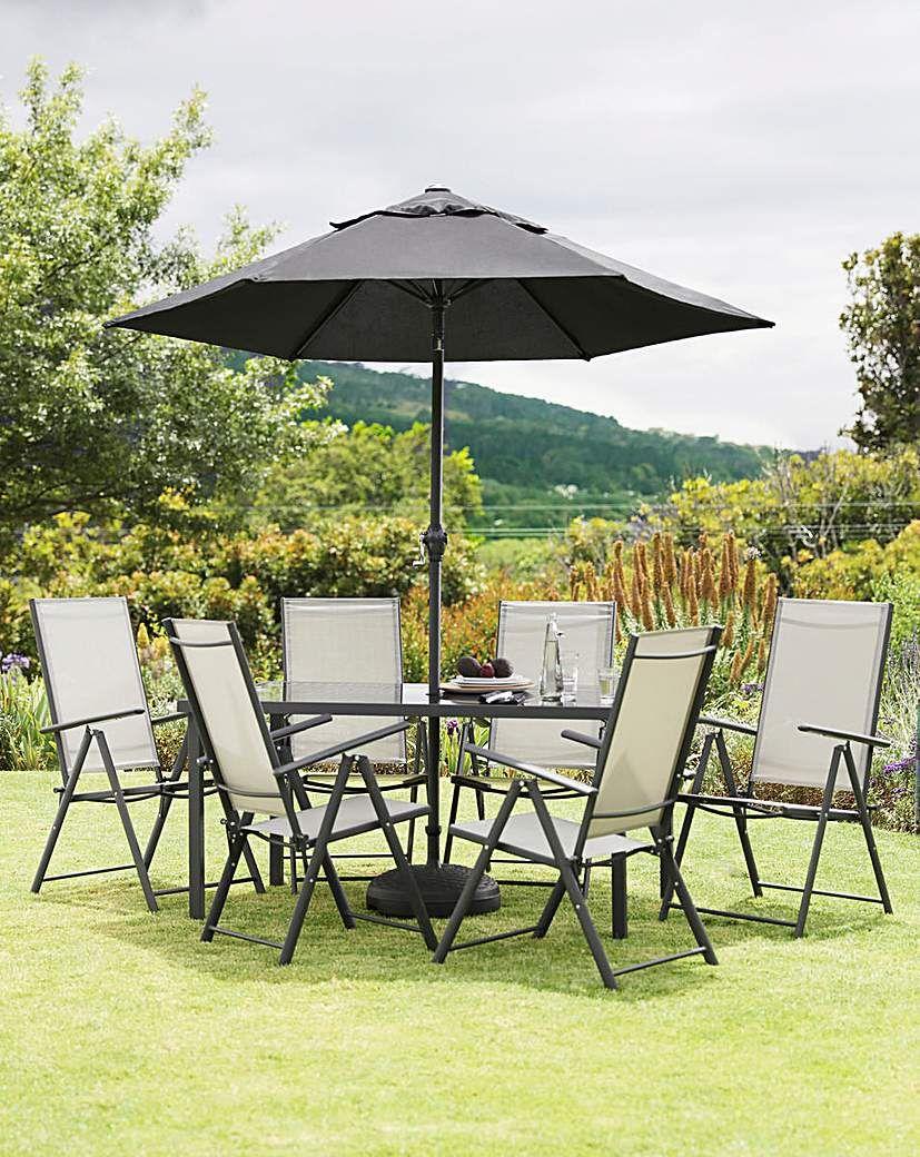 Seville 6 Seat Reclining Dining Set Outdoor Garden Furniture