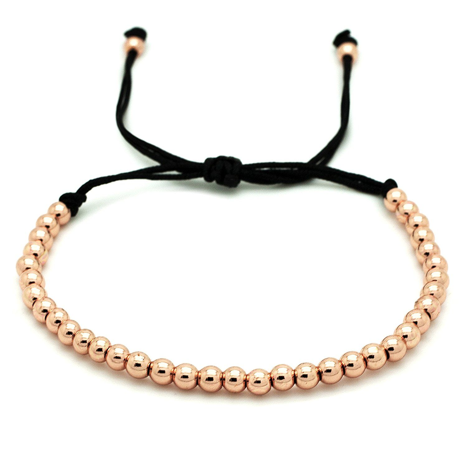 Unisex rose gold plated beaded bracelet with suay gift pouch
