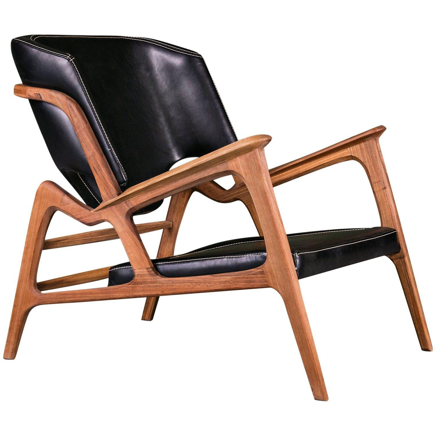 Tisa Armchair Contemporary Lounge Chair In Walnut And High Quality Leather 1stdibs Com Uniquech Contemporary Lounge Chair Unique Chair Contemporary Chairs