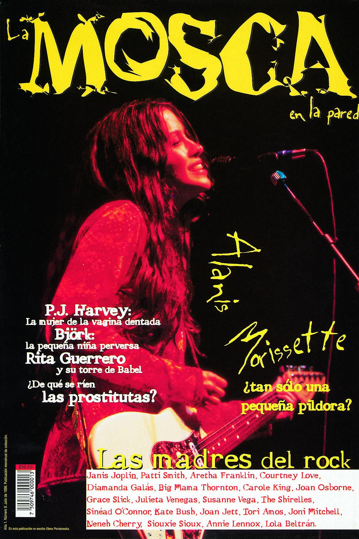 Nuestro primer número dedicado al rock y las mujeres, el No. 8, aparecido en julio de 1996. La leyenda inferior advertía: en este número no escribe Elena Poniatowska.