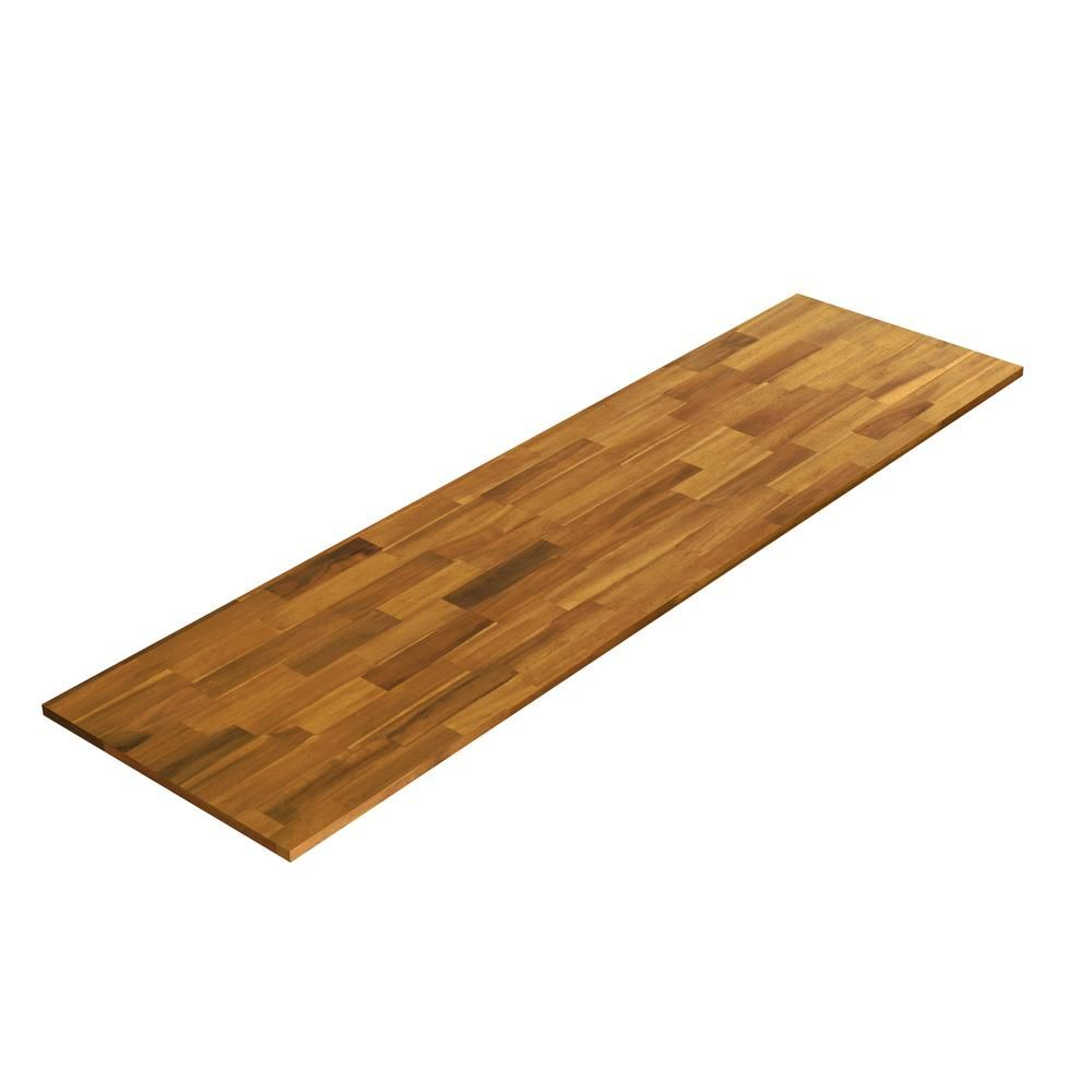 Interbuild 6 Ft L X 2 Ft 1 5 In D X 1 5 In T Butcher Block Countertop In Golden Teak Finished Acacia In 2019 Butcher Block Countertops Wood Countertops Butcher Block Wood