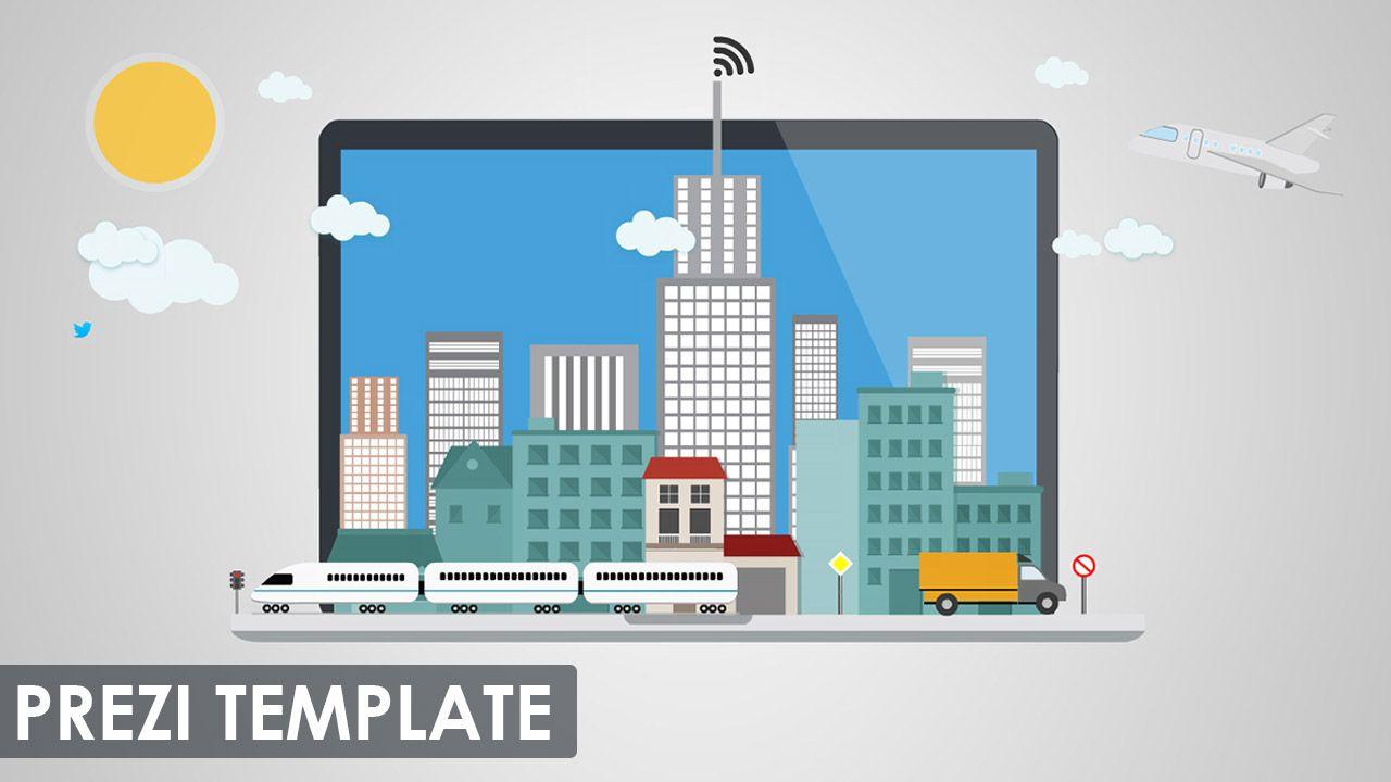 Prezi Template with a digital city concept. A 2D city on a
