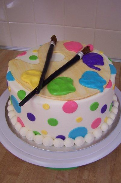 Budding Artist? by CareyI on Cake Central...I love the girls colors
