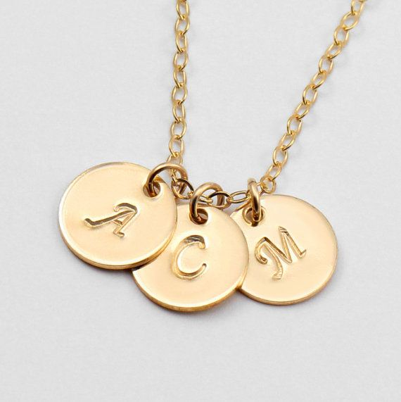 This initial necklace is the perfect kind of mom jewelry. A great personalized Christmas gift idea, layered necklace, mother daughter matching set, monogram necklace. You design it. We create it. They love it. A Gold Disc Necklace by ACharmedImpression