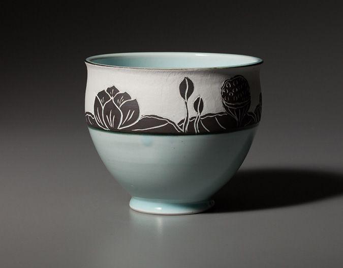 Lotus-Bowl-Vertical Pottery Bowl by Chapel Hill, NC-based potter Deborah Harris